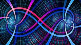 2 блокируя спирали создавая символ безграничности с декоративными плитками, все в яркой светя сини и пинк Стоковые Фотографии RF
