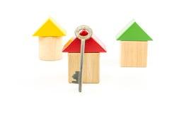 Блоки игрушки дома деревянные с ключом Стоковая Фотография RF
