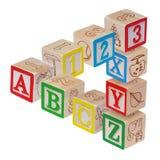 блоки предпосылки алфавита изолировали белизну стоковая фотография