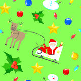 Блоки текстуры рождества безшовные на зеленой предпосылке c santa Стоковые Изображения