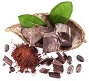 Блоки шоколада и фасоль какао Стоковое Изображение