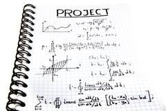 Блокнот с математически проектом Стоковые Изображения