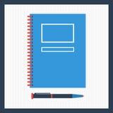 Блокнот с ручкой в взгляд сверху иллюстрация штока