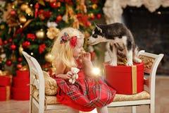 Блондинка младенца девушки в красном платье около осиплого щенка на рождестве Стоковые Фотографии RF
