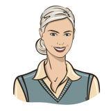 Блондинка на белой предпосылке иллюстрация вектора