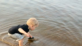 Блондинка ребенк мальчика гомосексуалиста бросает большой камень в воду сток-видео