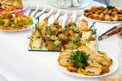 Блюда на таблице банкета Стоковое Изображение