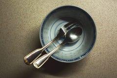 Блюдо, вилка и ложка Стоковое Изображение RF