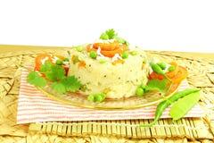 Блюдо закуски Upma южное индийское сделанное от sooji или rava манной крупы Стоковое Фото