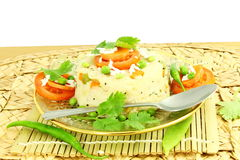 Блюдо закуски Upma южное индийское сделанное от sooji или rava манной крупы стоковое изображение