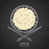 Блюдо кипеть белого риса и палочки на grunge чернят предпосылку доски Взгляд сверху иллюстрация штока