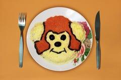 Блюдо, обезьяна, нож, вилка Стоковые Изображения