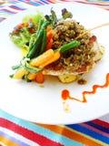 Блюдо рыбы и vegetable здоровое Стоковые Изображения RF