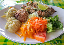 Блюдо brochette меч-рыб Стоковое Фото