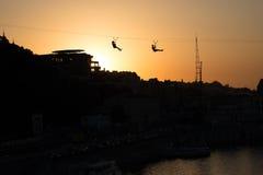 Вагонетка Киева на заходе солнца Стоковые Изображения