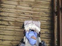 Вагонетка младенца пересекая мост парка деревянный Стоковая Фотография