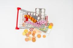 Вагонетка покупок с таблетками и деньгами евро Стоковая Фотография