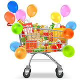 Вагонетка супермаркета вектора с подарками бесплатная иллюстрация