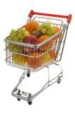 вагонетка супермаркета плодоовощей ходя по магазинам Стоковые Изображения RF