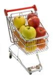 вагонетка супермаркета плодоовощей ходя по магазинам Стоковое фото RF