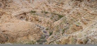Вади Qelt, горная область в Израиле Стоковая Фотография
