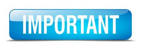 Важная голубая кнопка квадрата 3d реалистическая изолированная Стоковые Изображения RF