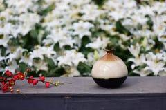 Ваза Китая керамическая с цветками Стоковое Фото