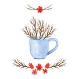 Ваза предпосылки акварели флористическая Акварель нарисованная рукой Стоковые Фотографии RF