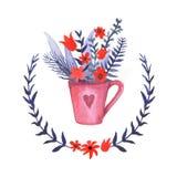 Ваза предпосылки акварели флористическая Акварель нарисованная рукой Стоковая Фотография RF