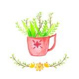 Ваза предпосылки акварели флористическая Акварель нарисованная рукой Стоковое Изображение RF
