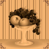 ваза плодоовощ ретро тип Стоковые Фотографии RF