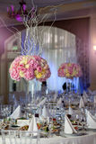 ваза цветков Таблица элегантности настроенная для wedding Стоковые Изображения RF