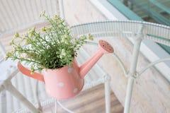 Ваза цветков украшенная на таблице зеркала на живущей комнате Стоковое Изображение