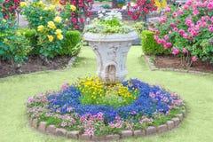 Вазы с цветками в парке Стоковые Изображения RF