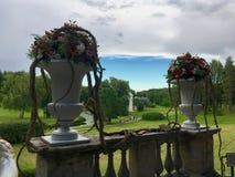 2 вазы с цветками на предпосылке красивого природного парка Стоковые Фотографии RF