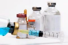 Вакцина в пробирке с шприцем Стоковое Изображение