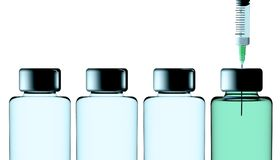 Вакцина, кампания защиты, здоровье Заболевания и лечения перевод 3d Шприц и решение в бутылке иллюстрация вектора