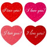 Валентайн дня счастливое s Набор сердец с надписью - я тебя люблю - ко дню Валентайн стоковая фотография