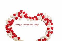 Валентайн дня s Сердце сделанное из изолированной карамельки на белой предпосылке Стоковое Изображение RF
