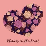 Валентайн дня s Цветки в сердце Поздравительная открытка с цветочным узором Иллюстрация в винтажном стиле вектор влюбленности jpg бесплатная иллюстрация