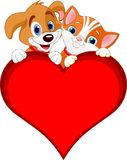 Валентайн знака собаки кота Стоковые Изображения