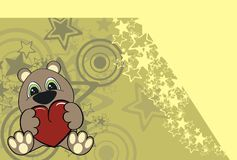 Валентайн игрушечного шаржа медведя предпосылки Стоковые Изображения
