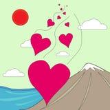 Валентайн иллюстрации s сердец летания дня Стоковые Изображения RF