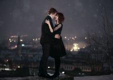 Валентайн ночи s влюбленности пар Стоковое Изображение RF