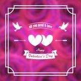 Валентайн приветствию s дня карточки знамя, плакат Голуби, сердца, стрелки На предпосылке расплывчатых розовых роз В рамке иллюстрация штока