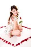 Валентайн роз девушки счастливое Стоковые Изображения RF