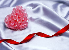 Валентайн сатинировки сердца предпосылки Стоковое фото RF