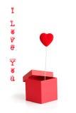 Валентайн сердца карточки коробки Стоковые Изображения