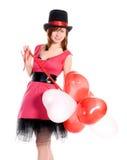 Валентайн сердца s девушки дня шарика форменное Стоковая Фотография RF