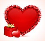 Валентайн сердца s подарка дня карточки Стоковые Изображения